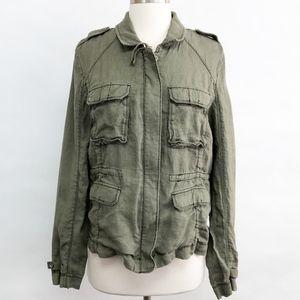Michael Stars Jackets & Coats - michael stars | linen military utility jacket sz L